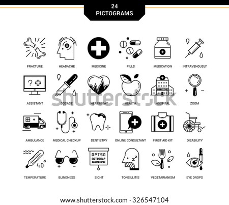 Creative contemporary icons in a linear style. Medical assistance online, hospitalized patients, first aid kit, vision loss, emergency medical care, dental care, vegetarianism and healthy lifestyle - stock vector