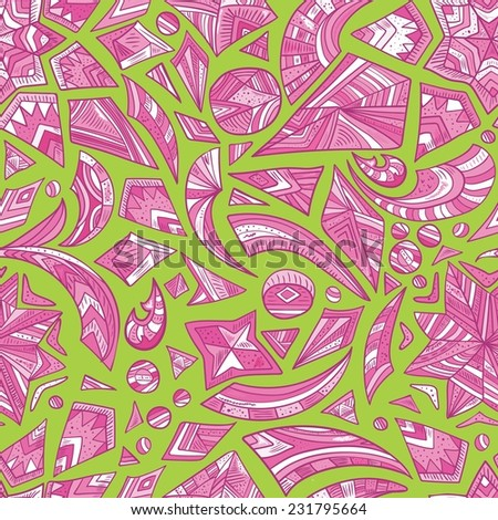 Creative cool tribal pattern | Seamless abstract geometric pattern with aztec painted elements - stock vector