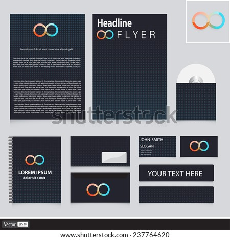Creative corporate identity with cubes and modern icon infinity. Vector idea for your company. Business concept. - stock vector