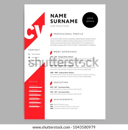 creative cv resume template red color stock vector 1043580979