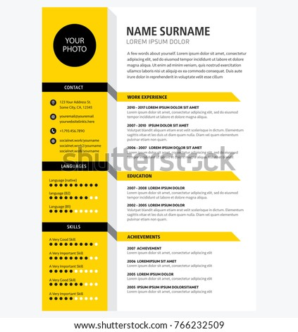 creative cv resume template yellow color stock vector 766232509