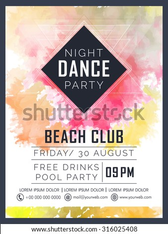 Creative Dance Party celebration flyer, banner or template design with colorful splash. - stock vector