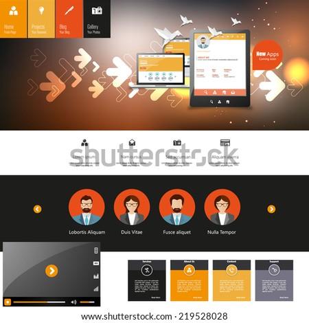 Creative Dark Website Template  - stock vector