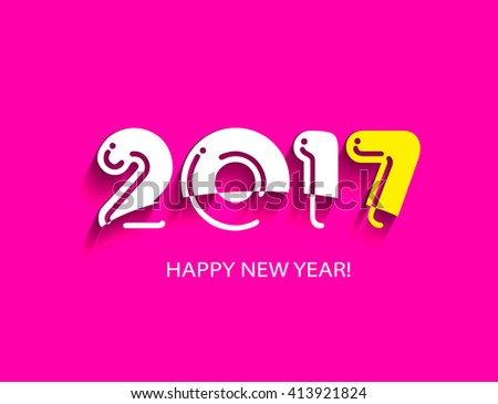 Creative design background with the text Happy New Year 2017. Vector illustration of white and yellow on a pink background