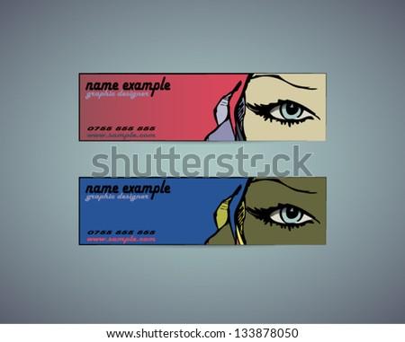 Creative design business cards - stock vector