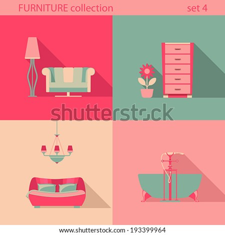 creative furniture icons set flat design. creative design furniture icons set interior long shadow style vector collection romantic flat m