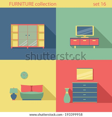 creative furniture icons set flat design. creative design furniture icons set interior long shadow style vector collection home flat e