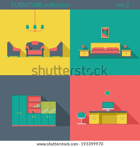 Creative Design Furniture Icons Set Interior Long Shadow Style Vector Collection Home