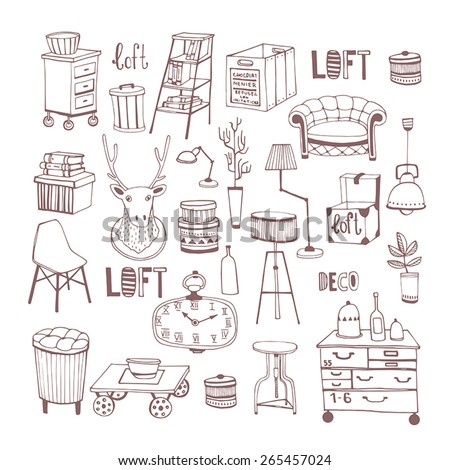 Creative design furniture set. Deco. Home sweet home.  - stock vector