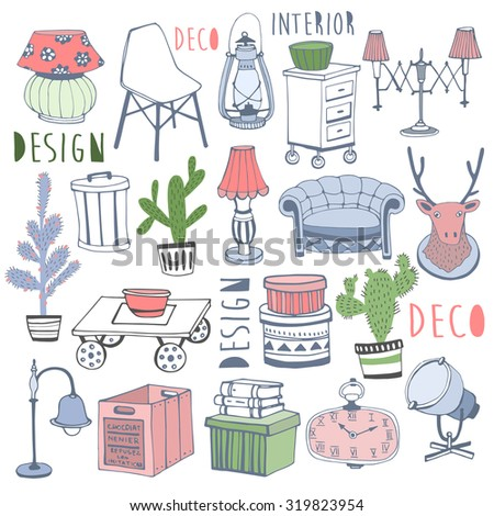 Creative design furniture set in color . Deco. Home sweet home.  - stock vector