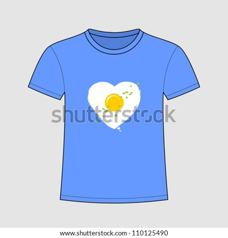 Creative design t-shirt with heart-shaped fried egg - stock vector