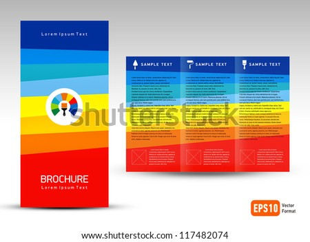 creative design vector brochure Tri-fold Layout Design Template colorful lines squares on vivid background - stock vector