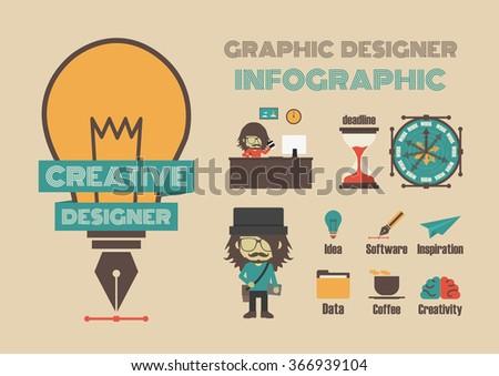 creative designer infographic, idea concept, retro style - stock vector