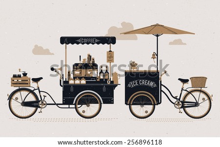 Creative detailed vector street coffee and ice cream vending bicycle carts  with espresso machine, sirup bottles, wooden crate on rear rack, disposable cups and more. Subtle rough paper texture - stock vector