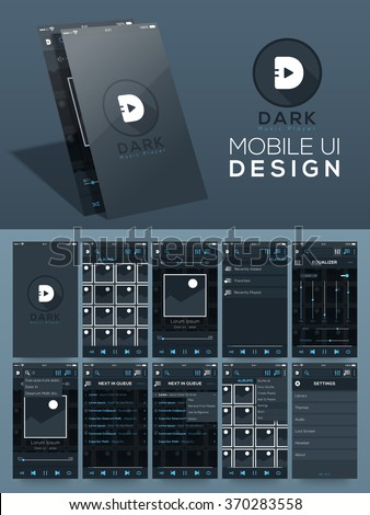 Creative different UI, UX, GUI layout for mobile apps and responsive website including Music Player, Album, Media Player, Playlist, Equalizer, and Setting screens. - stock vector