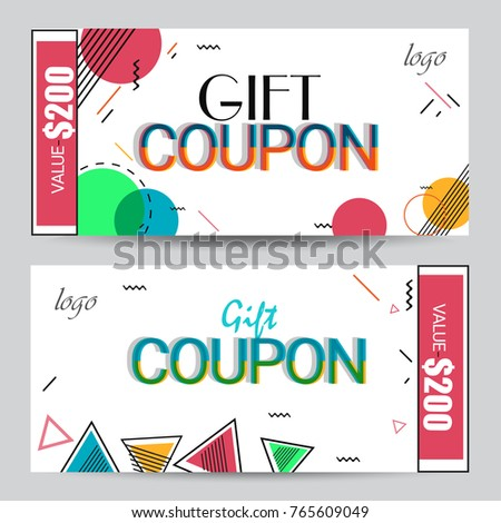Creative Discount Voucher Gift Card Coupon Stock Vector