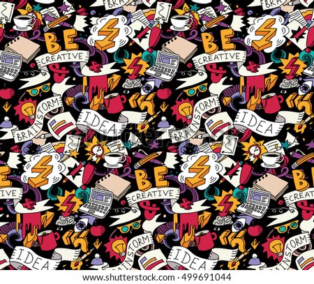 Creative doodles idea brainstorm color seamless pattern. Cartoon hand drawn doodles. Color detailed vector illustration with lots of objects . EPS8