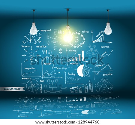 Creative Drawing Business Concepts with glowing light bulb idea, in the modern room, Vector template design - stock vector