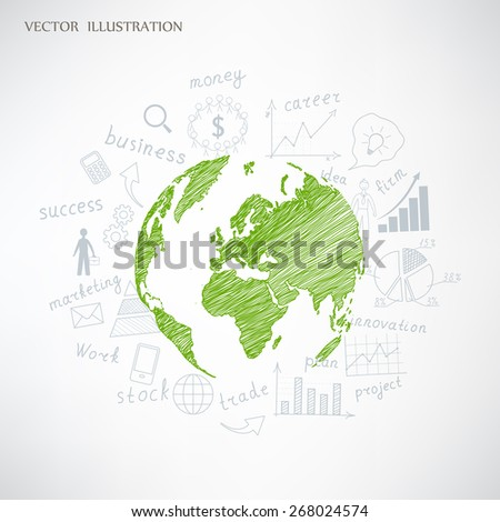 Creative drawing chart and graphs business plan idea on globe, Business world concept modern design template work flow layout, diagram, step up options, Vector illustration - stock vector