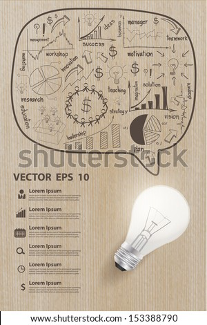 Creative drawing charts and graphs business strategy plan concept with light bulb idea on wood texture, Vector illustration modern template design - stock vector