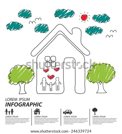 Creative drawing ecology and happy family concept, Vector illustration design template. - stock vector