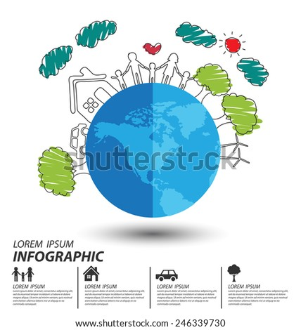 Creative drawing ecology and happy family concept, Vector illustration design template.