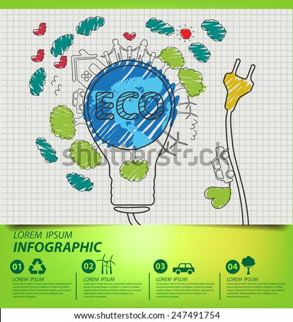 Creative drawing ecology concept. Vector illustration. - stock vector