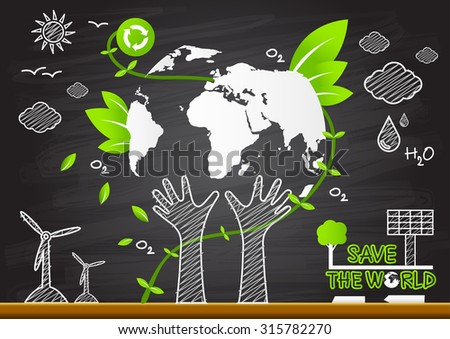 Creative drawing. Green world map global ecological concepts