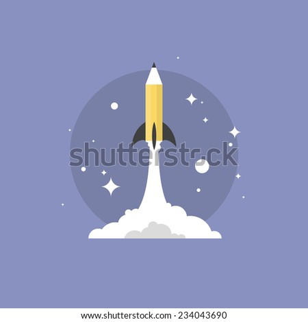 Creative drawing with pencil, success imagination and drawing new ideas, artist creativity thinking. Flat icon modern design style vector illustration concept. - stock vector