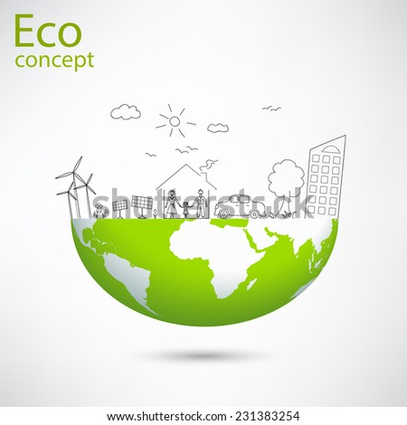 Creative drawing world map global ecological concepts, with happy family stories concept idea, Vector illustration - stock vector