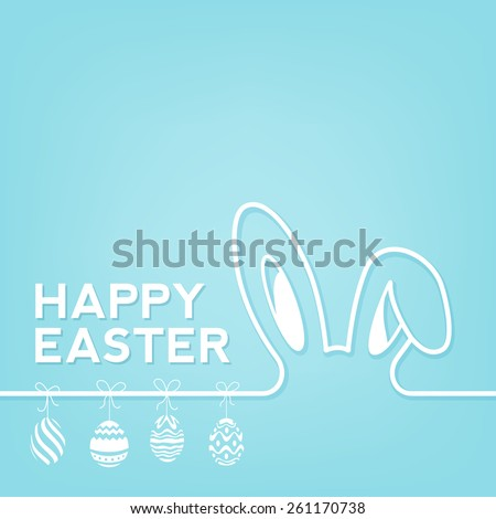 Creative Easter Background With Rabbit And Eggs - stock vector