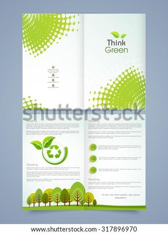 creative ecological brochure template or flyer design decorated with nature view