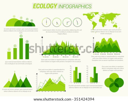 Creative Ecological Infographic elements with statistical bar, graphs and charts. - stock vector