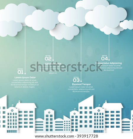 Creative ecological template layout with illustration of urban city view. - stock vector