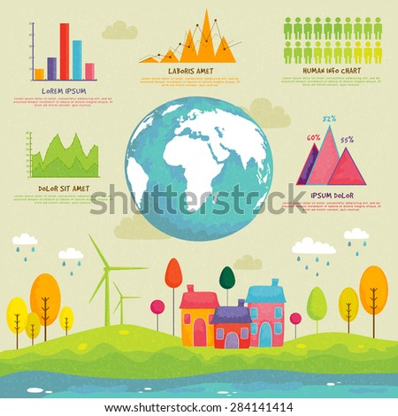 Creative ecology infographic elements with globe and statistical graphs or charts for professional presentation. - stock vector