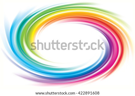 Creative eddy festival happy aqua backdrop of vivid multi colored glossy curled spraying ripple sphere. Closeup view with space for text in white center - stock vector