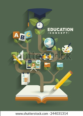 creative education concept flat design with book tree elements - stock vector