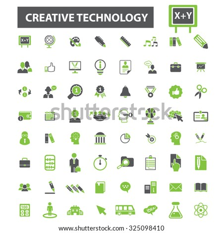 creative education, technology icons - stock vector