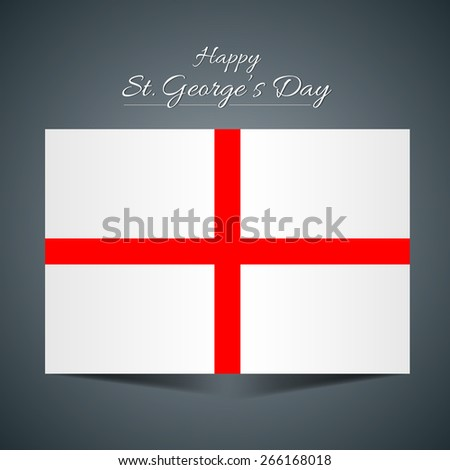 Creative England flag for St George Day in a creative grey color background. - stock vector