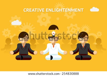 Creative enlightenment. Business guru creative idea concept. Leadership and expertise, emotional. Vector illustration - stock vector