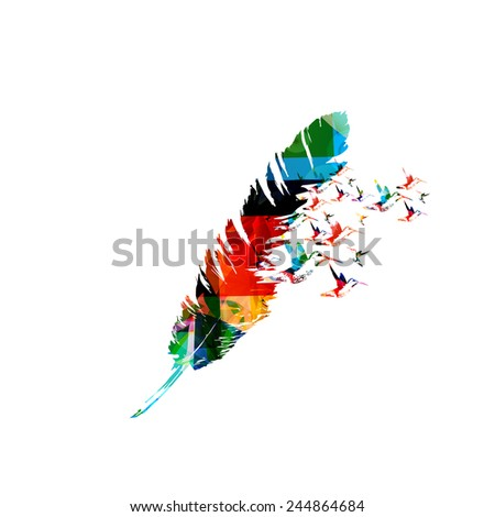 Creative feather design - stock vector