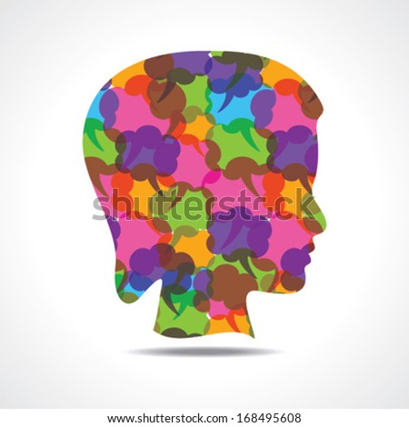 Creative female face of colorful message bubble stock vector
