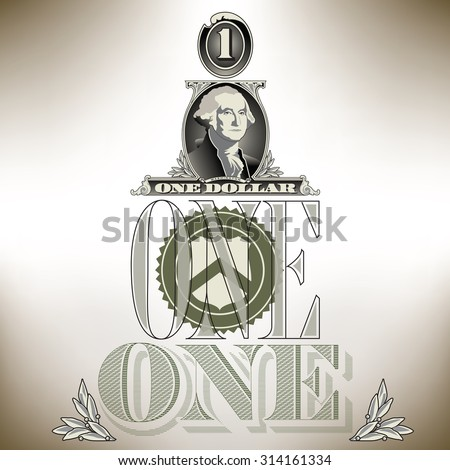 Creative financial background based on one dollar bill elements - stock vector