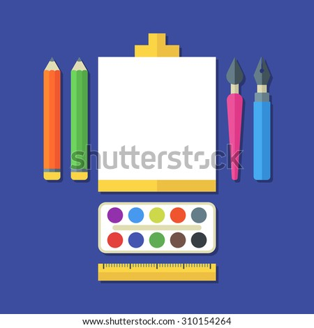 Creative flat illustration of tools, art supplies for design, drawing, painting. Vector icon set of pen, pencil, brush, paints, ruler, White sheet of paper on easel. Concept for stationery, school. - stock vector