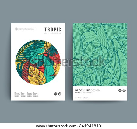 Creative Floral covers design. Tropic leaves patterns with place for your text. Eps10 layered vector.