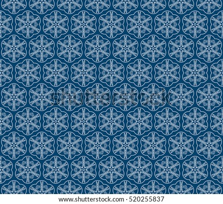 creative floral ornament. seamless geometry pattern. vector illustration. blue color