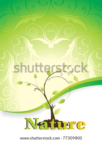 creative floral pattern background with plant, vector illustration - stock vector