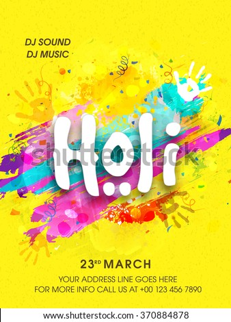 Creative Flyer, Banner or Pamphlet design for Indian Festival of Colours, Happy Holi celebration. - stock vector