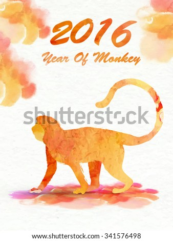 Creative Flyer, Banner or Pamphlet design with illustration of a Monkey on colorful splash background for Chinese New Year celebration. - stock vector