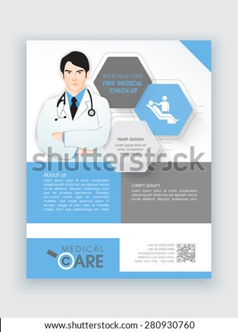 Creative flyer with illustration of a young doctor for Medical Care, can be used as template or brochure design. - stock vector